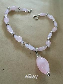 Natural Rose Quartz Pendant Runway Necklace Solid Sterling Silver 300+ Carats