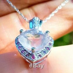Natural Rose Quartz Pink Sapphire Diamond Solid 9K White Gold Pendant Necklace