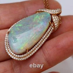Natural Solid Crystal opal diamaond pendant necklace withtourmaline TW71.8ct KG200