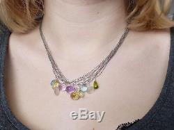 Necklace/925 silver pendant, amethyst, apatite, topaz, prehnite, rose quartz
