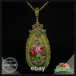 Necklace Big Michal NEGRIN Swarovski Crystals Flowers Roses Made in Israel