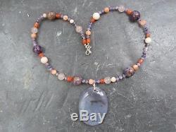 Necklace/Pendant Silver 925,1 Agate Mousse (Foam), Coral, Agate & Pink Quartz
