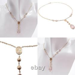 Necklace Rosary Women's Gold 18 Carats Mantis with Stones Pink And Medal Madonna