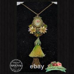 Necklace big Michal NEGRIN Swarovski Crystals Multicolor Roses Made in Israel