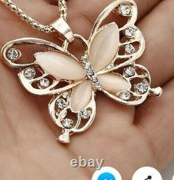 New 14 k rose Gold And natural Opal gemstone Butterfly Pendant And Necklace