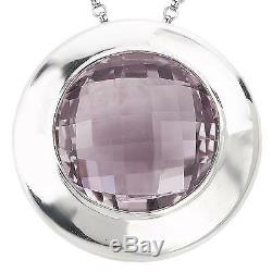 New. 925 Sterling Silver Pink Quartz Round Faceted Slide Pendant Necklace