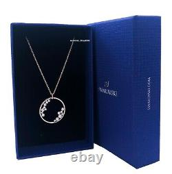 New Authentic Swarovski Rose Gold Crystal Pave North Circle Pendant Necklace