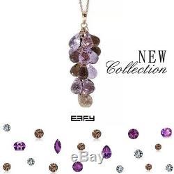 New EFFY 22.5TCW Genuine Amethyst & Smokey Quartz 14K Rose Gold Pendant Necklace