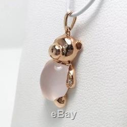 New! La Bell Diamond Rose Quartz 14k Rose Gold Teddy Bear Pendant (#746)