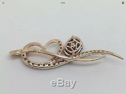 New LeVian Rhodolite Garnet Smokey Quartz 14K Rose Gold Heart Pendant Necklace