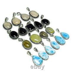 New Lot REVISE LARIMAR AMETHYST RUTILE Mix Gemstone 925 Sterling Silver Pendant