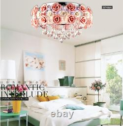 New Pink Ceramic Rose Crystal LED Ceiling light Chandelier Pendant lamp Lighting