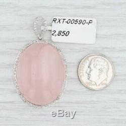New Rose Quartz Diamond Halo Pendant 18k White Gold Pink Stone Statement