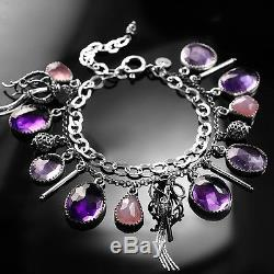 Nivai sterling silver wire-wrapped bracelet with amethyst and rose quartz