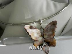 OPULENT 43g sterling silver 925 SAJEN gemstone pendant choker collar necklace