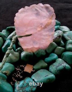 Old Native American Kingman turquoise & rose quartz pendant necklace 72 g. 19