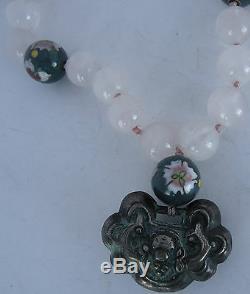 Old Rose Quartz Crystal, Cloisonne Necklace Sterling Silver Clasp Bronze pendant