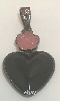 Onyx Heart Pendant, With Rose Quartz Topaz- Sterling (Old)