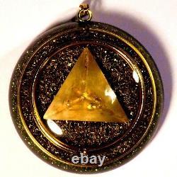 Orgone pendant pyramid with citrine & rose quartz