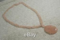 Oriental rose quartz vintage beaded necklace with carved medallion