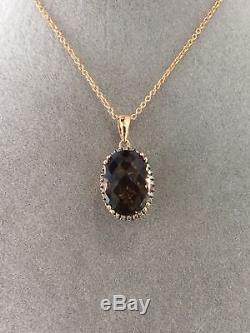Oval Cut Smoky Quartz Diamond Halo Pendant Gemstone 14 K 14 Karat Rose Gold New