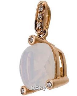 POIRAY Girls 18K Rose Gold Milky Quartz with Diamonds Pendant MSRP $1000