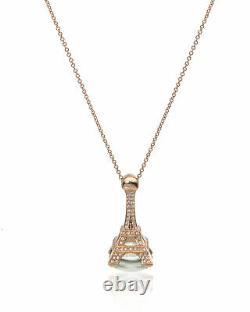 Pasquale Bruni Eiffel 18k Rose Gold Diamond 0.81ct And Green Quartz Necklace