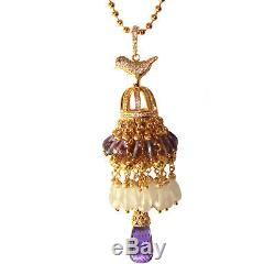 Pendant Bird Cage with Tassel, Amethyst and Rose Quartz Gold on 925 Silver