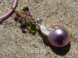 Pendant Gold 18 CT, 1 Pearl Baroque Freshwater And 10 Stones Precious