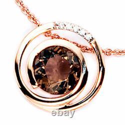 Pendant Smoky Quartz And Diamonds, 585 Gold Rose Gold, Gold Pendant, Ladies