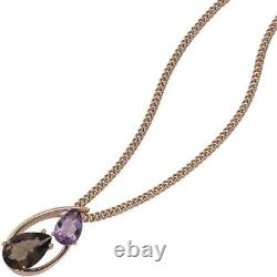 Pendant Smoky Quartz Braun & Amethyst Purple IN Teardrop Shape 585 Gold Rose