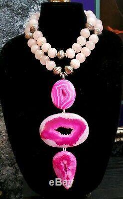Pink Druzy Agate Avant Garde Artist Statement Pendant KATROX Rose Quartz OOAK