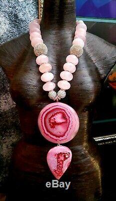 Pink Druzy Agate Rose Quartz Rondelle Artist Statement Pendant Necklace KATROX