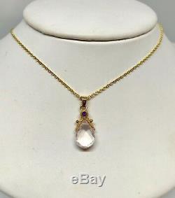 Pre Owned 14K Yellow Gold Pear Shape Rose Quartz & Amethyst Pendant Necklace 16