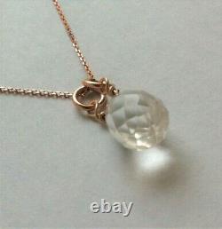 QUARTZ crystal 9ct ROSE GOLD pendant necklace hallmark birthstone bridal wedding