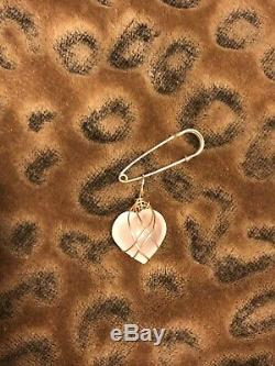 RARE Authentic KAZUKO OSHIMA Rose Quartz HEART 14kg Safety Pin pendant Barneys