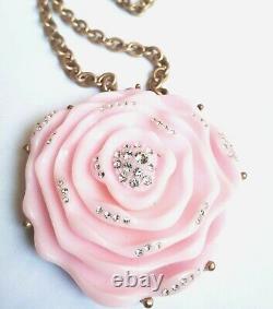 RARE RUNWAY OSCAR DE LA RENTA swarovsky Crystal pink resin rose pendant necklace