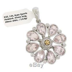 RCI 925 Sterling Silver & 14K Yellow Gold Rose Quartz Flower Pendant