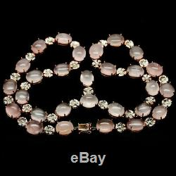 REAL! 15 X 18 mm. PINK ROSE QUARTZ LONG NECKLACE 35 925 STERLING SILVER
