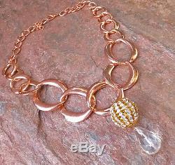 ROSE COPPER RHINESTONE INLAID GOLD PENDANT QUARTZ STATEMENT NECKLACE Jewelry LG