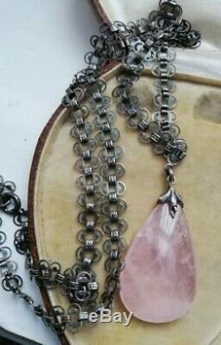 Rare 1895 Victorian silver book chain hammered silver with rose quartz pendant