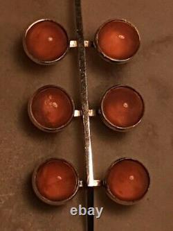 Rare Exquisite Modernist Danish Niels Erik From Silver Rose Quartz Pendant