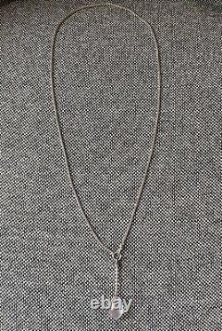 Rare Georg Jensen Rose Quartz Drop Pendant & Knitted Chain #128 Vivianna Torun