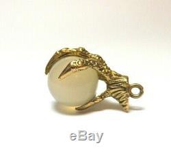 Rare. Rose Quartz Eagle Claw Charm Vintage 1948 9ct Gold 375 Charms Pendant