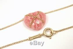 Rare Vintage Tiffany & Co 14K Yellow Gold Rose Quartz Heart Necklace 18 withpouch