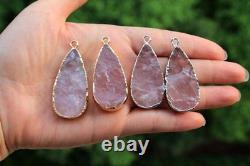 Raw Rose Pink Quartz Crystal Natural Stone Pendant Necklace Jewelry Making Gift