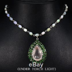 Real 26ct Pink Rose Quartz & CHROME DIOPSIDE, FIRE OPAL Gems 925 Silver Necklace