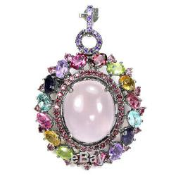 Real Rose Quartz Topaz Peridot Amethyst Iolite Sterling 925silver Pendant-brooch