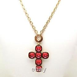 Rebecca Pink Crystal Cross Pendant in Rose Gold Plated Bronze-RRP $360