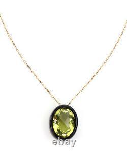 Roberto Coin Ipanema Lemon Quartz Oval Black Wood 18k Rose Gold Pendant Necklace